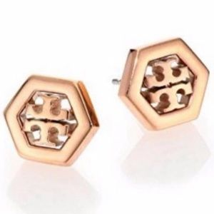 Tory Burch NWOT Hex Logo Rose Gold Stud Earrings